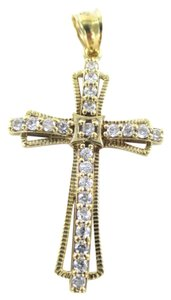 ng 10KT SOLID YELLOW GOLD PENDANT CROSS WHITE STONES CHARM RELIGIOUS NG 2.1 GRAMS