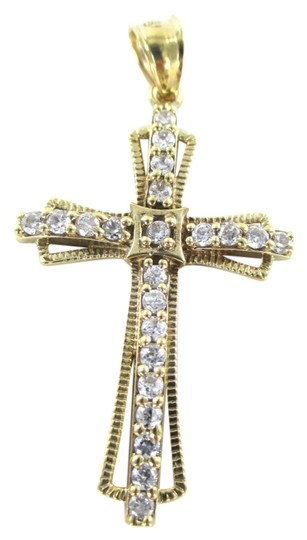 Preload https://item2.tradesy.com/images/gold-10kt-solid-yellow-pendant-cross-white-stones-religious-21-grams-charm-1011696-0-0.jpg?width=440&height=440