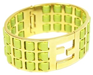 Fendi Fendi Green Lamb Leather Gold Metal Bracelet
