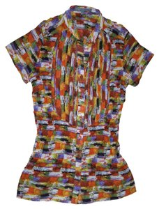 New York & Company Wrinkled Elegant Neckline Pleats Stand Collar Front Button Top Multi-Color