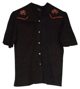 Rock Steady Modcloth Button Down Shirt Brown