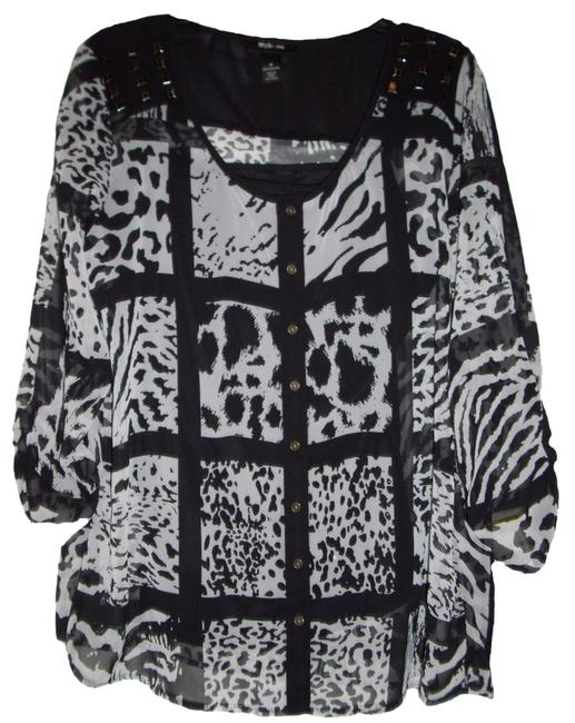 Style & Co Three-quarter-sleeve Button-front Semi-sheer Fabric Animal Print Cami Sold Seperate Top Animal Patch