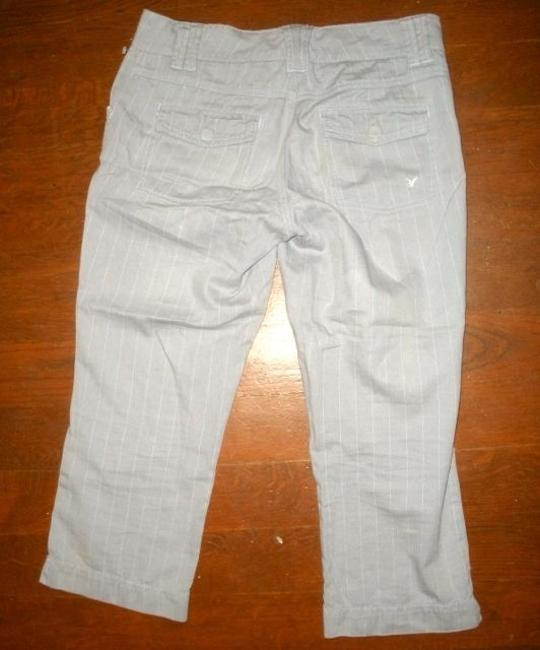American Eagle Outfitters P650 Cropped Size 4 Pants Capris GRAY PIN STRIPED