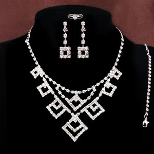4pc Rhinestone Jewelry Wedding/prom Set Free Shipping