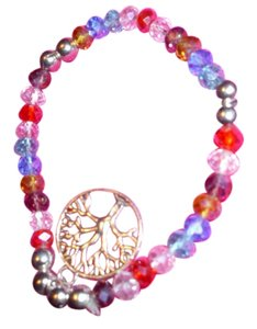 Other Really sparkles! Multi-color crystal beaded bracelet tree of life hanging dangle charm jewelry colorful fun glittery
