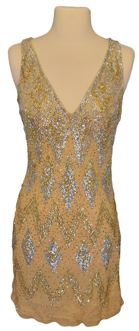 Item - Gold Silk Formal Gown Knee Length Cocktail Dress Size 4 (S)