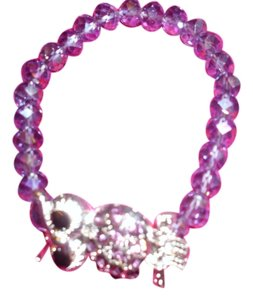 Other So cute! Purple sparkling plastic lucite beaded bracelet with adorable crystal rhinestone owl hanging out crystal
