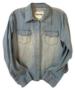 Garage White Wash Button Down Shirt blue