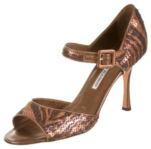 Manolo Blahnik Animal Sequin D'orsay Mary Jane Stripe Copper, Brown Sandals