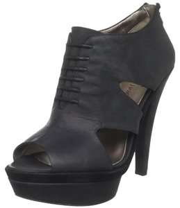 HK by Heidi Klum Wedge Leather Edgy Funky Black Platforms
