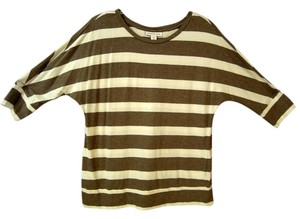 Coldwater Creek Scoop Neck Top brown & white stripe