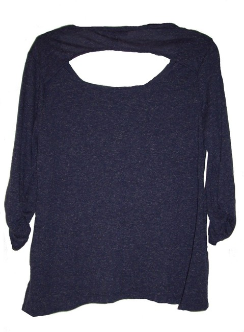 Style & Co Doiley Design Studded Unlined Open Back Easy Fit T Shirt Blue