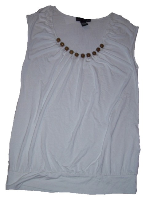 Grace Elements Soft Knit Fabric. Sleeveless. Scoop Neckline Fitted Silhouette Beaded T Shirt White