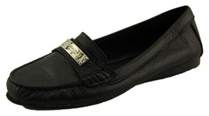 Coach Leather Logo Black Flats