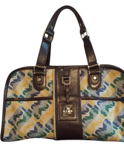L.A.M.B. Satchel in Brown/Yellow/Green