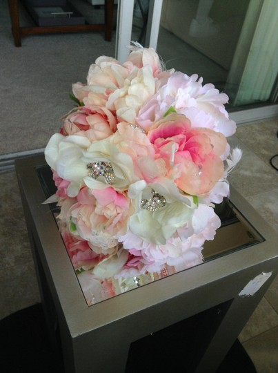 Beautiful Handmade Bridal Bouquet Brooch Peonies Roses Blush Ivory