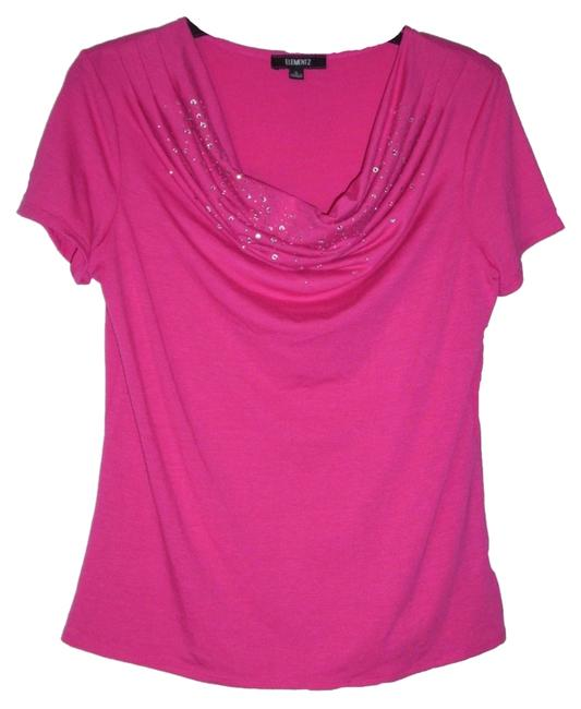 Elementz Draped Soft Studded Top pink