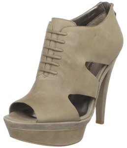 HK by Heidi Klum Wedge Leather Edgy Funky Taupe Platforms