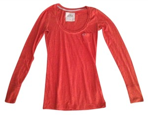 Abercrombie & Fitch Longsleeve Scoop Neck Basic Shirt T Shirt Orange