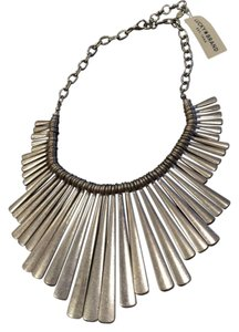 Lucky Brand Lucky Brand Necklace Sculptural Paddles Bib Distressed Silver Tone
