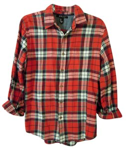 21 men Flannel Button Down Shirt red plaid