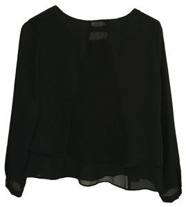 Zara navy blue blouse, buttoned sleeves, double lined, sheer triangle detail down back. Top Navy blue
