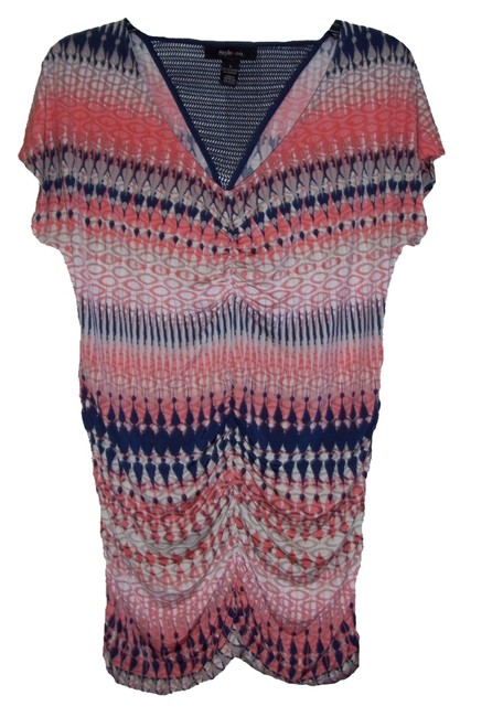 Style & Co Cap Sleeves Ruched Bottom Pullover V- Neckline Fitted Top Multi-Color