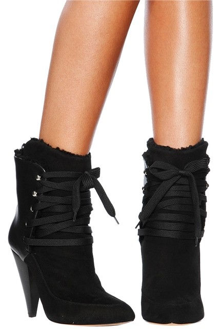 Item - Black Killer Kitmei Shearling Lined Lace Up Leather Boots/Booties Size US 9 Regular (M, B)