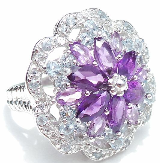 Other NATURAL PURPLE AMETHYST SKY BLUE TOPAZ 925 STERLING SILVER RING 7