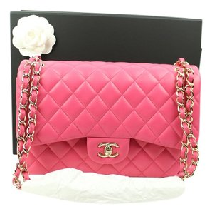 Chanel Jumbo Classic Flap Lambskin Quilted Hot Pink Shoulder Bag
