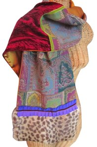 Etro ETRO Scarf Shawl With Muff in Silk and Fur