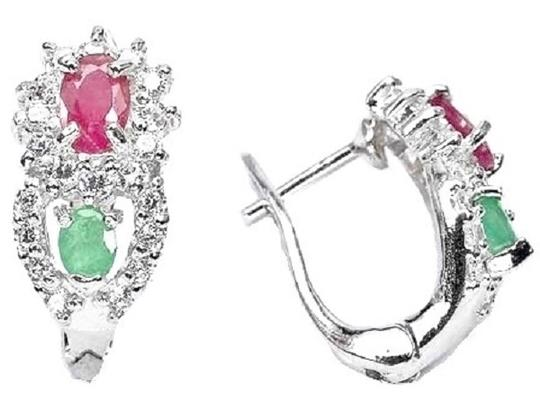 Other NATURAL GREEN EMERALD, RED PINK RUBY, WHITE ZIRCON EARRINGS