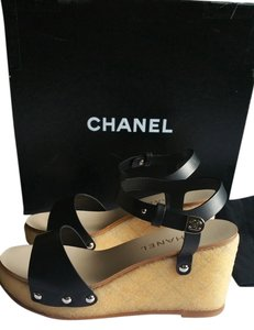 Chanel Black and Beige Wedges