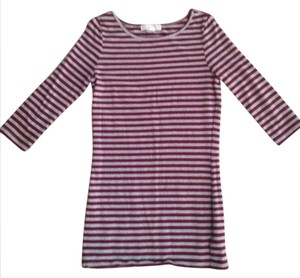 Forever 21 3/4sleeve Stripe Striped Grey Red T Shirt