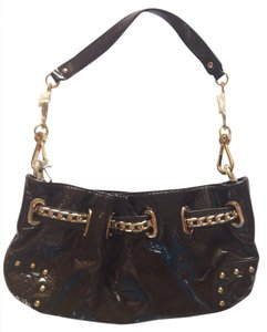 bebe Patent Leather Clutch Night Out Gold Hardware Hobo Bag