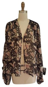 Winter Kate Silk Chiffon Top pink, black, and cream abstract print