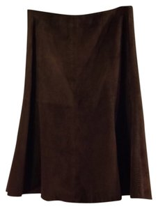 Vakko Vs By Suede Brown Vintage Skirt Dark brown