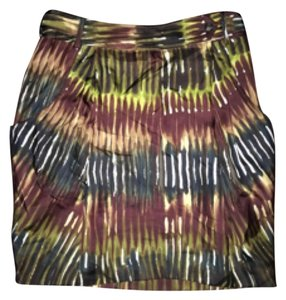 Rachel Roy Mini Skirt Lime green brown white burgundy