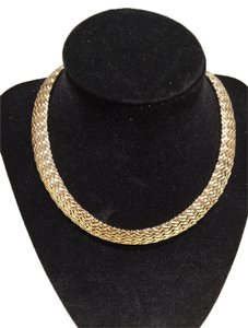 Goldtone Herringbone Choker Necklace (15