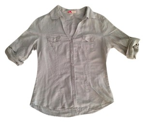 Forever 21 Button Down Shortsleeve Button Down Shirt Tan