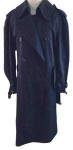 Burberry Vintage Men's Blue Long Trench Trench Coat