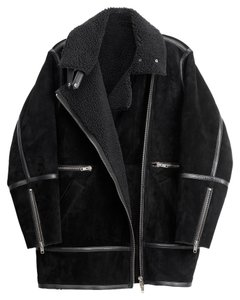 H&M Suede Shearling Leather Jacket Shearling Studio Collection Fur Coat