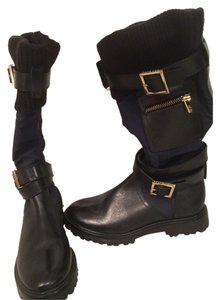 Tory Burch Black and Blue Boots