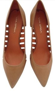 Via Spiga Leather With Cut Outs tan Pumps