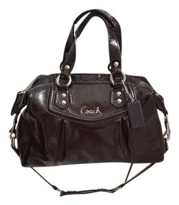 Coach Patent Leather Signature Satchel in Brown
