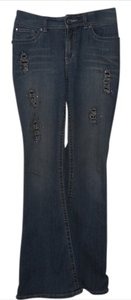 Cache Distressed Studded Crystal Sparkle Boot Cut Jeans-Distressed