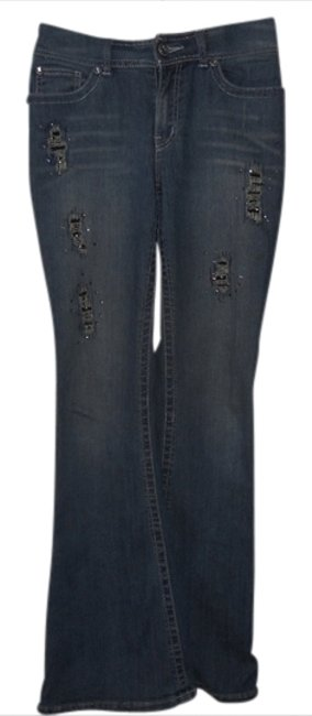 Item - Blue Distressed Studded Crystal Sparkle Boot Cut Jeans Size 32 (8, M)
