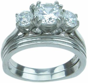 Engagement / Bridal Ring Set * 2.0 Ct Stainless Steel & Cz Set * Sz 7 * Free Gift Box *