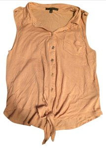 Papaya Pocket Silver Buttons Button Down Sleeveless Top Pink