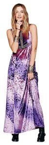 Free People Hello Maxi Sz 4 Plums/purples Beaded Embellished Velvet Stunning Stand-out Dress